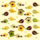 Cute birds background Stock Images