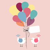 Cute birds with balloons background greeting Stock Image