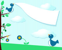 Cute birds and blank banner Royalty Free Stock Images
