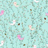 Cute birds in blooming flowers garden on pastel blue background for fabric,textile,print or wallpaper. Vector illustration stock illustration
