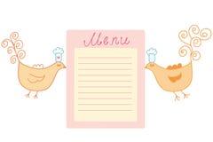 Cute birds bringing  menu Stock Images