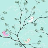 Cute birds cartoon seamless pattern on soft blue background for kid product,t-shirt,,print,fabric,textile or wallpaper. Vector illustration vector illustration
