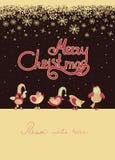 Cute birds celebrating Christmas. Vector greeting card, cute birds celebrating Christmas Royalty Free Illustration