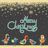 Cute birds celebrating Christmas. Vector greeting card, cute birds celebrating Christmas Stock Illustration