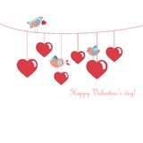 Cute birds celebrating Valentine's Day. Vector illustration Stock Images