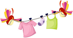 Cute birds with clothesline Royalty Free Stock Image