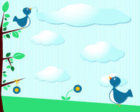 Cute birds and clouds Stock Images