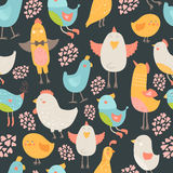 Cute birds collection. Cute birds seamless background, vector cartoon illustration with love Royalty Free Stock Images