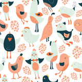 Cute birds collection. Cute birds seamless background, vector cartoon illustration with love isolated on white background Stock Image