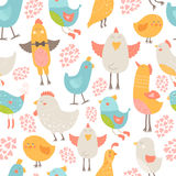Cute birds collection. Cute birds seamless background, vector cartoon illustration with love isolated on white background Stock Photos