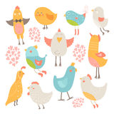 Cute birds collection. Vector cartoon illustration with love isolated on white background Royalty Free Stock Photos
