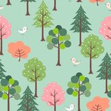 Cute birds in colorful forest seamless pattern for kid product,t-shirt,fashion,fabric,textile,print or wallpaper. Vector illustration royalty free illustration