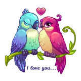 Cute birds couple in love. Cartoon vector illustration on white background vector illustration