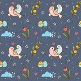 Cute birds couple seamless pattern vector illustration
