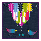 Cute birds exotic fruit water drops. Baby shower invitation card Stock Image