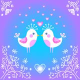 Cute birds falling in love. Royalty Free Stock Image