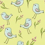 Cute birds with flowers seamless background royalty free illustration