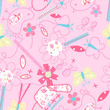 Cute birds and flowers seamless pattern Stock Images