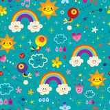 Cute birds, flowers, Sun, rainbow, clouds, sky raindrops. extremely impressive seamless pattern Royalty Free Stock Photos