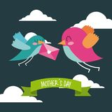 Cute birds flying with envelope in beak mothers day message. Icon vector ilustration Royalty Free Stock Photo