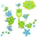 Cute birds and giraffe stock illustration