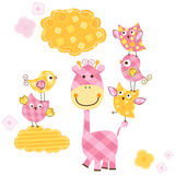 Cute birds and giraffe Stock Images
