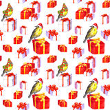 Cute birds in hats, christmas presents. Seamless pattern. Watercolor Stock Images