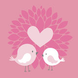 Cute birds with heart and dahlia flower. Cute couple birds with heart and abstract dahlia flower on pink background Royalty Free Stock Photography