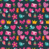 Cute birds heart flower envelope bow crown background pattern decoration. Icon vector ilustration Stock Image