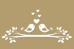 Cute birds with hearts cutting from paper Stock Photography