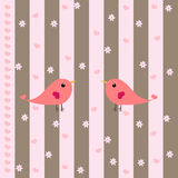 Cute Birds, Hearts & Flowers. Cute birds, hearts and flowers on a pastel pink and brown striped background Royalty Free Stock Photos