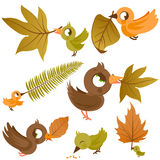 Cute birds holding dry Autumn leaves vector illustration