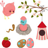 Cute birds icons Royalty Free Stock Photos