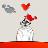 Cute birds in love royalty free illustration