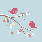Cute birds in love. Cute pink birds on a branch with hearts and snowflakes vector illustration