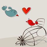 Cute birds in love Stock Photos