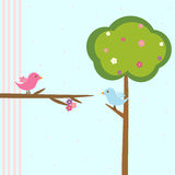 Cute birds in love. Cute pink birds on a branch with flowers royalty free illustration
