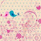 Cute birds in love illustration Stock Photos