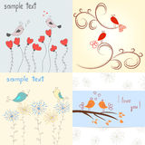 Cute birds in love. Set of romantic backgrounds. Collection of templates vector illustration