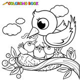 Cute birds in the nest coloring book page Royalty Free Stock Photos