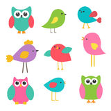 Cute birds and owls Stock Images