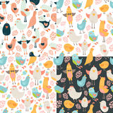 Cute birds seamless background set. Cute birds seamless background collection, vector cartoon birds patterns with love Royalty Free Stock Photography