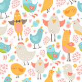 Cute birds seamless background. Vector cartoon illustration with love isolated on white background Royalty Free Stock Photos