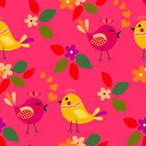 Cute birds seamless pattern. With little flower and leaf on a pink background vector illustration