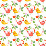 Cute birds seamless pattern. With little flowers vector illustration