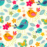 Cute birds seamless pattern. With little flowers and butterfly, ladybug Royalty Free Stock Photo