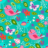 Cute birds seamless pattern. With little flowers and butterfly, ladybug on a turquoise background royalty free illustration