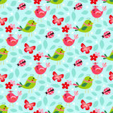 Cute birds seamless pattern. With little flowers and butterfly, ladybug on a turquoise background stock illustration