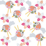 Cute birds seamless pattern and seamless pattern in swatch menu, Stock Images
