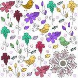 Cute birds seamless pattern and seamless pattern in swatch menu, Royalty Free Stock Image